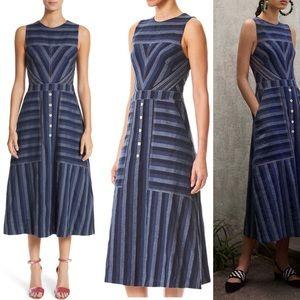 Carolina Herrera Striped Denim Dress NWT 8